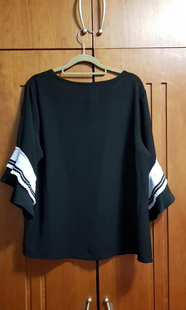 Plus size Black top with Bell sleeves