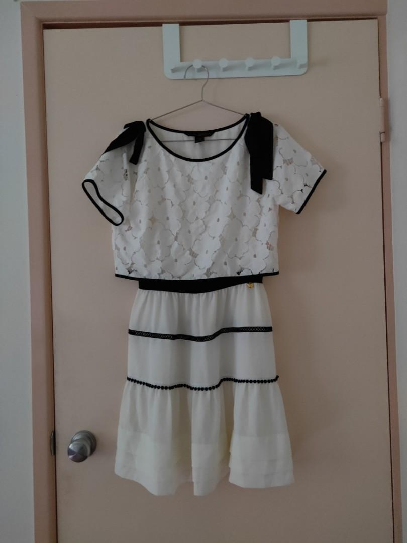 princess style sweet girl style white lace one piece dress