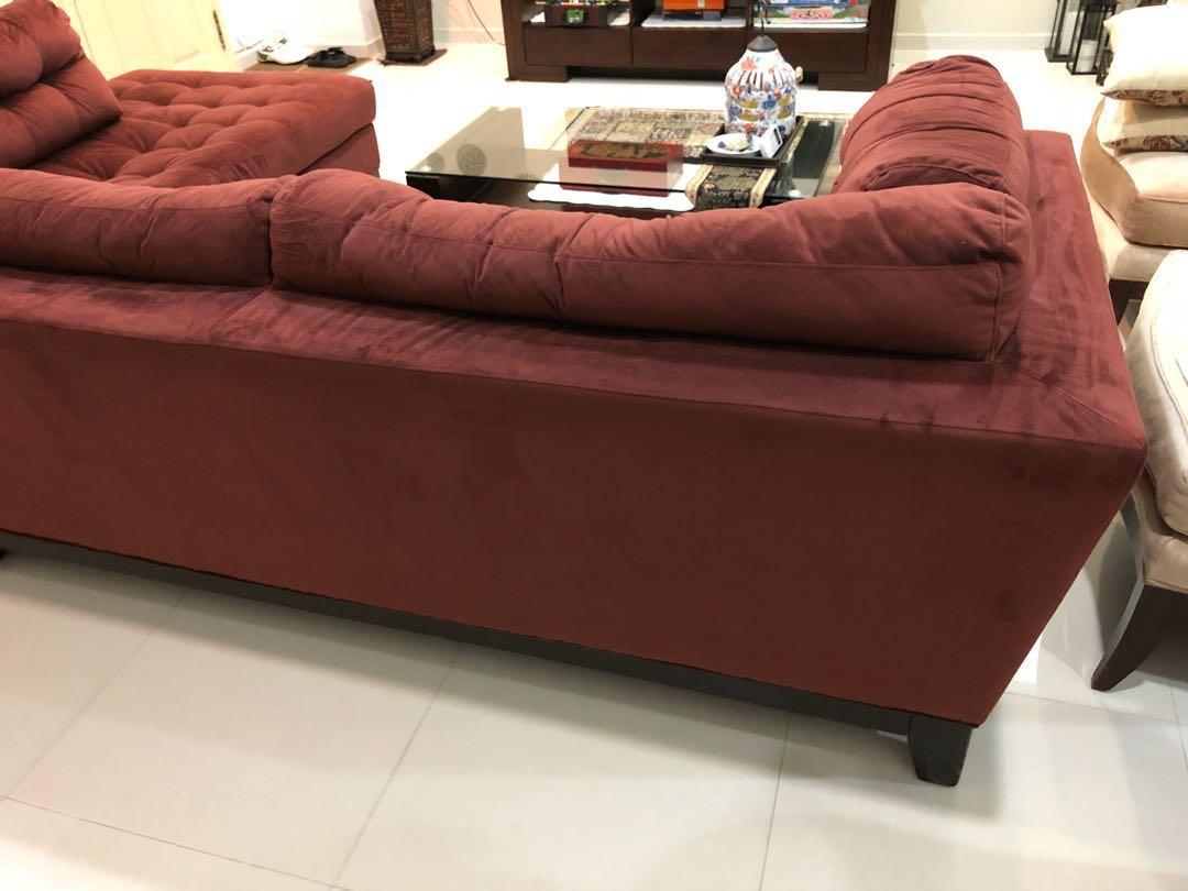 Raymour Flanigan Maroon Suede L Shaped Sofa Furniture Sofas On Carousell
