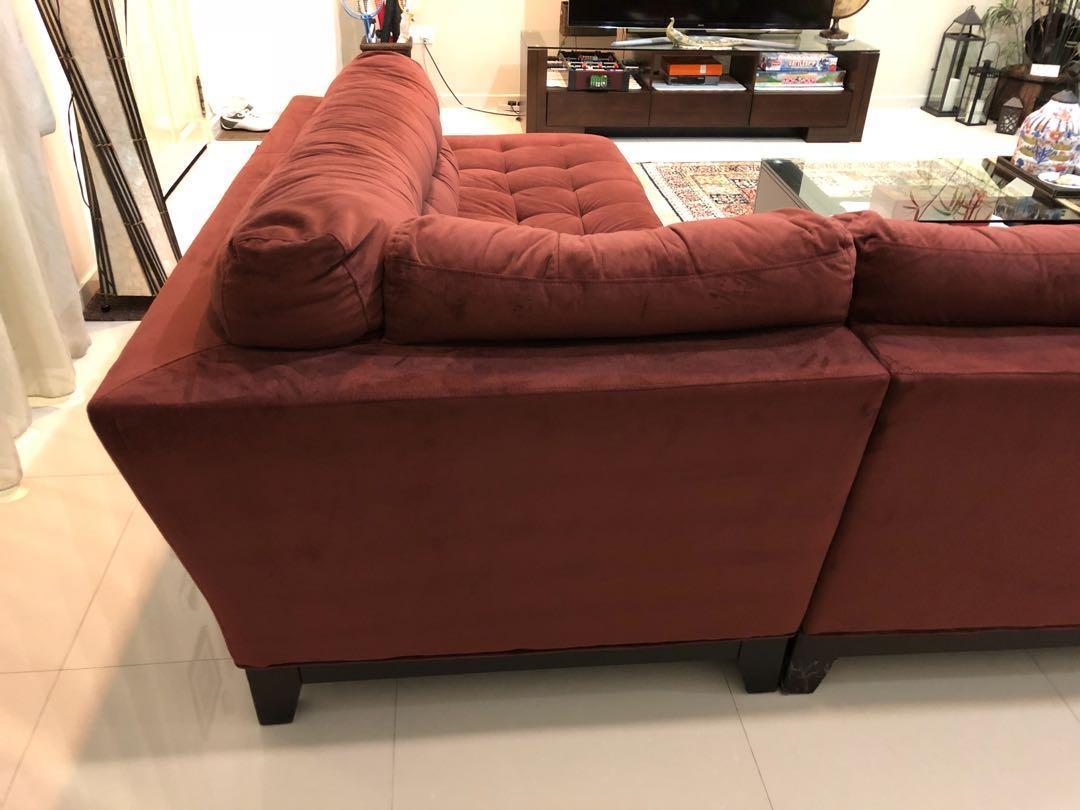 Picture of: Raymour Flanigan Maroon Suede L Shaped Sofa Furniture Sofas On Carousell