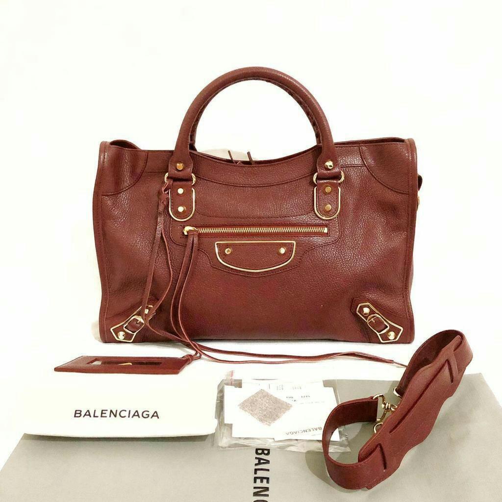 Ready Balenciaga Metallic Edge Regular size 38cm in Bordeaux GHW Short Strap Complete Set  Rec 2019