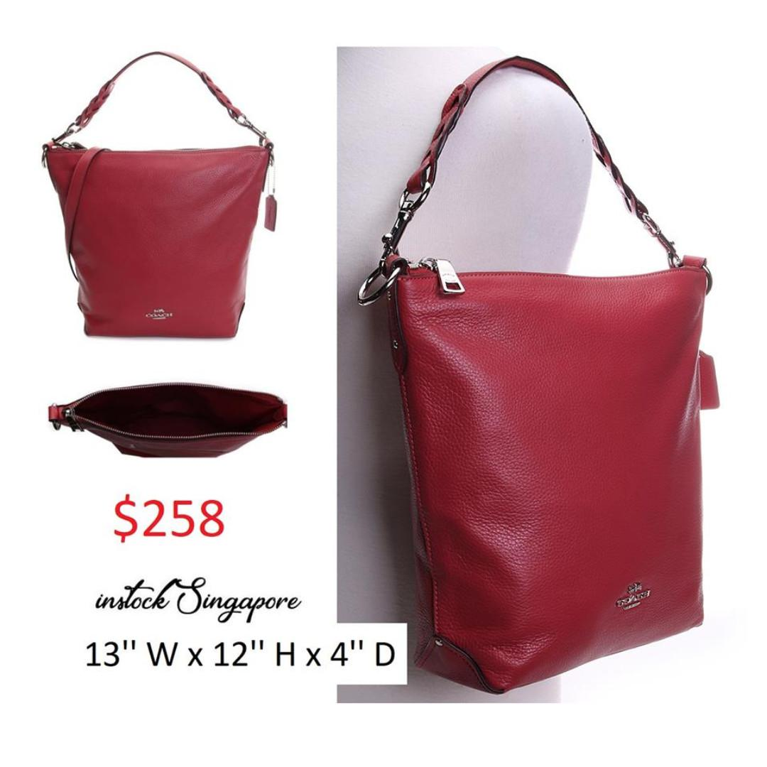 READY STOCK authentic new  Coach Washed Red Abby Leather Hobo Coach ABBY DUFFLE (COACH F31507) full leather 2 way