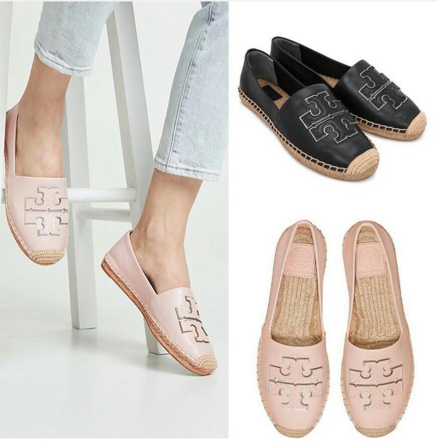 Ready Tory Burch Leather Espardille • Nude Blush size 6 6.5 7 7.5 8 9 • Black size 5.5 6 6.5 7 7.5 8 9  Complete Box