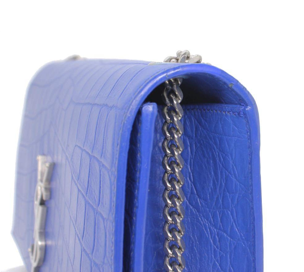 SAINT LAURENT Crocodile Embossed Kate Tassel Chain Wallet
