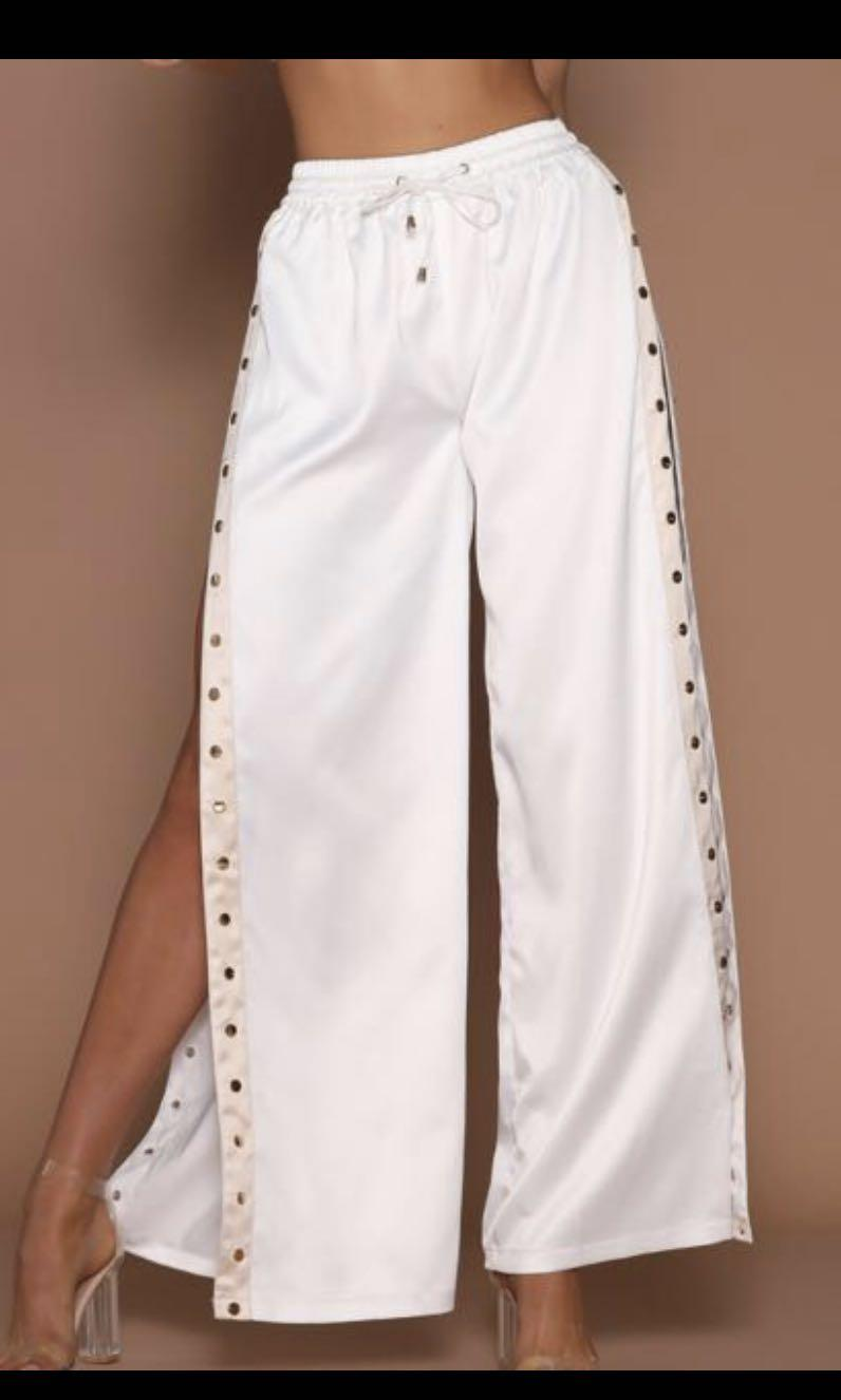 taya luxe snap/popper track pants - white / nude / gold