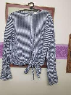 H&M Striped Tie Front Bell Sleeve Top