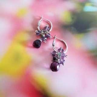 紫紅水晶玻璃耳環 Earrings