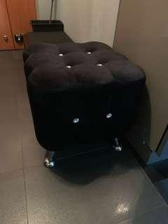 Stools, chair, ottoman, leg rest - Black velvet