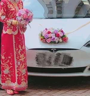 結婚車花連V絲帶4門車花 +花球