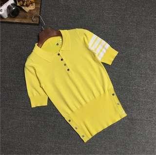 🚚 2017 summer TB new women's T-shirt thin striped ice silk lapel short-sleeved shirt