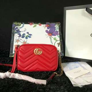 c06ebde3a6c8 🔝G CLEARANCE SALE Red Gucci Marmont Matelasse Mini Sling Bag Gucci Marmont  Bag Gucci Sling