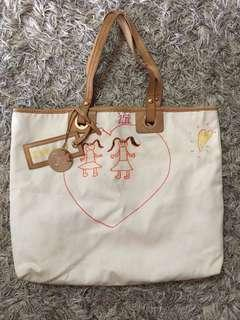 Versace Canvas Leather Trim Charity Tote