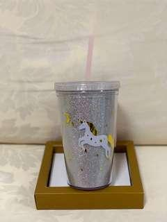 🚚 Unicorn Plastic Cup with Reusable Straw