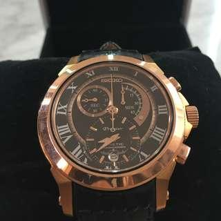 SeikoPremier Kinetic Rose Gold Chronograph Men'sWatchSNL044 (Discontinued)
