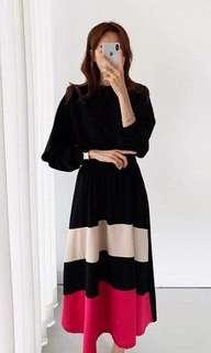 🚚 正韓 撞色 拼色 條紋 收腰 顯瘦 休閒 寬鬆 連身裙 長洋裝 兩色 預購