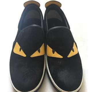 Men's Authentic FENDI Monster Slip On Sneaker - Black/Yellow – US 8.
