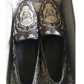 Alexander McQueen Black Lace Skull Men's Loafers (EU 45)