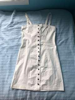 s white, button down dress