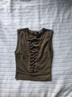 xs army green crisscross shirt