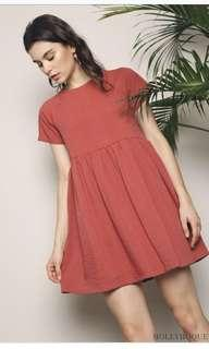 HH Jezebel Back Button Babydoll Dress in Coral