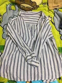 🚚 藍白條紋襯衫 可當外套 棉麻材質 兩件200
