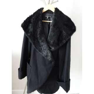 Black ELIZABETH AND JAMES Light Wool Faux Fur Winter Coat Jacket M/L Large