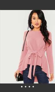 BNIB Pink High Low Long Sleeve w/ Belt