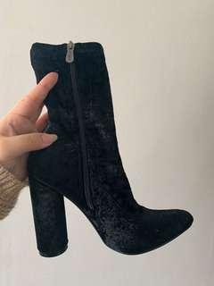 Black Crushed Velvet Ankle Boots