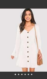 BNIB White summer dress with tortoise shell buttons