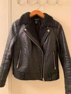 F21 Faux Leather Sherpa Moto Jacket