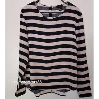 beige/black striped top, H&M, size 8, RRP$39.95