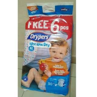 Drypers Wee Wee Dry XL 50pcs + 6pcs FREE