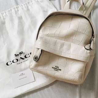 AUTHENTIC Coach Mini Campus Backpack in Embossed Croc White Leather 37713