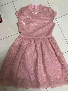 Pink Lace Dress cheongsam
