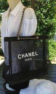 Chanel mesh tote beach bag