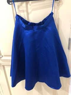Flare blue skirt / Rok biru elektrik ngembang bagus