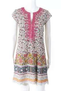 Authentic Calypso Pink Yellow Colourful Embroidered Floral Dress