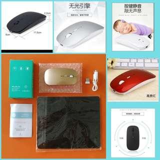 🆕☑️Rechargeable☑️long lasting power ☑️wireless 10m ☑️mute optical mouse for computer notebook laptop Microsoft Apple ☑️free mouse pad. Color; Black,White,Grey,Wine-red,Gold. ☑️Eliminate hassle to replace battery. ☑️auto energy saving. BNIP 可充电无线光纤电脑鼠标。滑垫