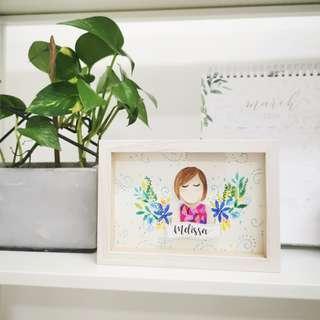 Paper cut Portrait with Floral Wreath