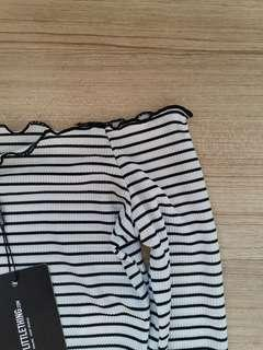 🚚 BNWT Pretty Little Things Off Shoulder Striped Top