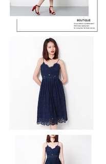 Navy Blue Midi Laced Dress