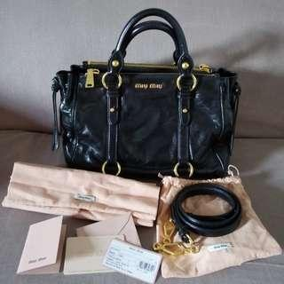 20c1ad2f514 💯Authentic Miu Miu Shine Double Zip Tote Textured Vitello Calfskin Leather  Satchel