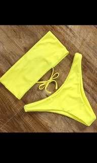 Yellow bandeau bikini (no padding)