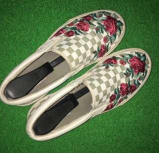 VANS SLIP ON ROSE EMBROIDERY DX CHECKERBOARD