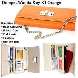 Grosir Dompet Panjang Wanita Kulit Key Desain - KJ Orange