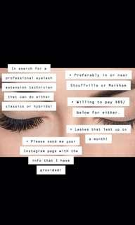 IN SEARCH FOR A PROFESSIONAL EYELASH EXTENSION TECHNICIAN