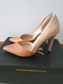 Kardashian collection camel duo tone heels