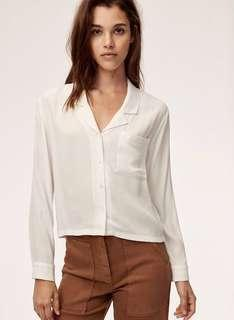 BNWT - Aritzia wilfred free camille shirt in oak