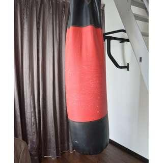 Punch bag and pull up bar - wall mounted