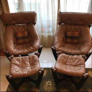 Rustic tan genuine leather chairs with foot stool